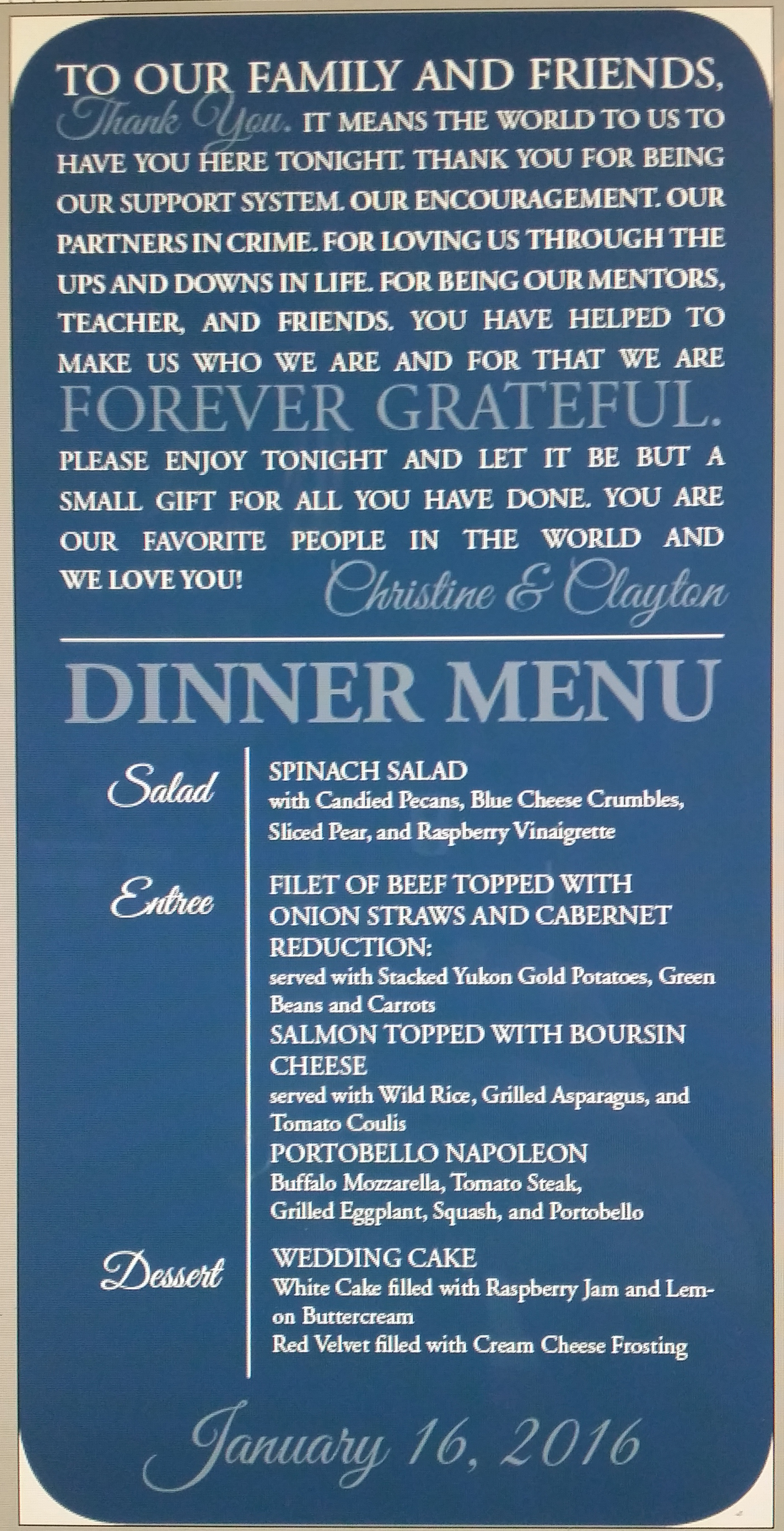 Wedding Table Dinner Menu