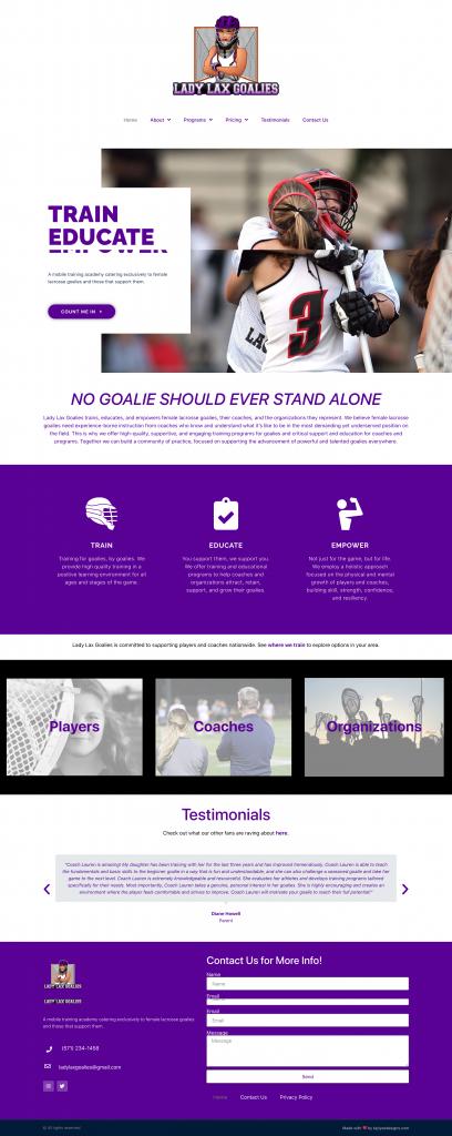 Lady Lax Goalies - Custom built Website